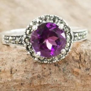 Jewelry - Stunning! Amethyst & Marcasite Sterling Ring